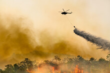 Silhouette Firefithing Helicopter Dumps Water On Forest Fire