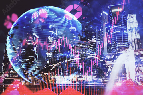 Double exposure of business theme hologram drawing and city veiw background. Concept of success.