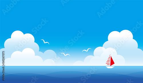 Tablou Canvas 真夏の青空と海の風景のイラスト