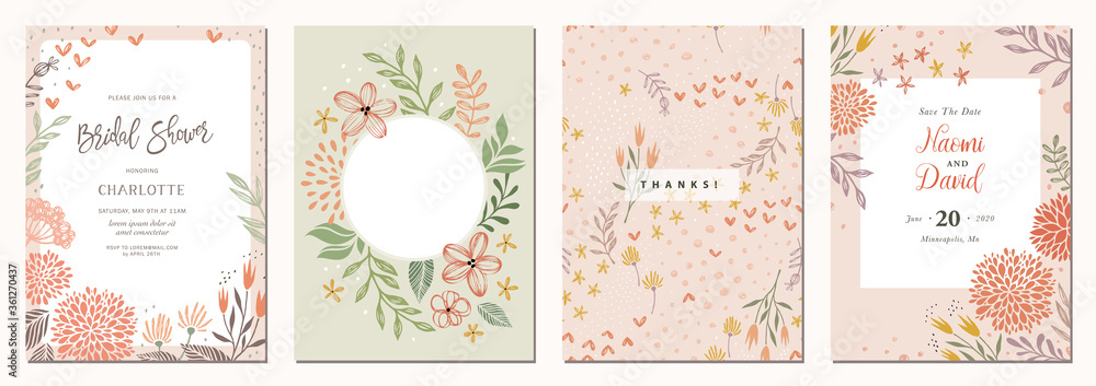 Fototapeta Set of floral universal artistic templates. Good for greeting cards, invitations, flyers and other graphic design.