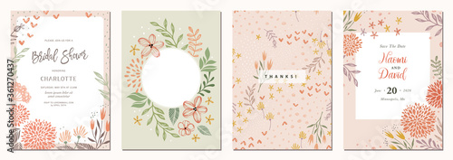 Set of floral universal artistic templates. Good for greeting cards, invitations, flyers and other graphic design. - 361270437