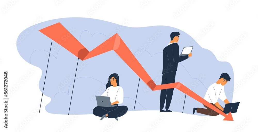 Fototapeta Business people use laptop with arrow point downwards vector flat illustration. Global financial crisis, recession and losing profits. Businessman and team during economy crash or bankruptcy isolated