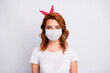 Close-up portrait of her she nice pretty healthy content girl wearing cotton safety mask mers cov contamination contagious flu flue grippe prevention healthcare isolated white gray color background