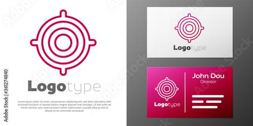 Photo Logotype line Target sport icon isolated on white background