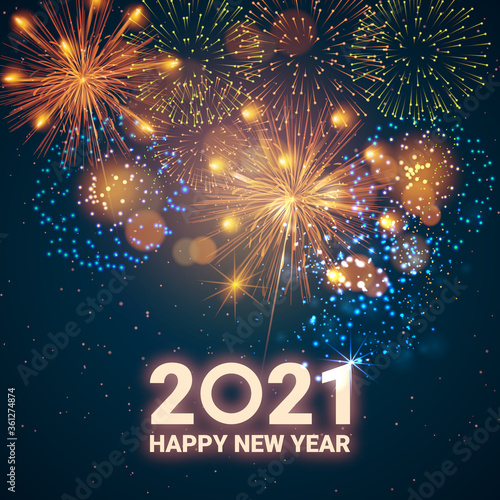 Canvas Print Greeting card Happy New Year 2021