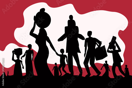 Valokuva Silhouette of exodus of economically backward people carrying luggages and children