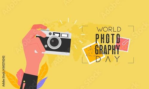 Flat design world photography day Canvas