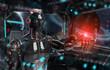 Leinwandbild Motiv Black and red intelligent robot cyborg pointing finger on dark 3D rendering
