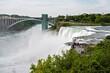 Rainbow Bridge over river and American side of Niagara Falls