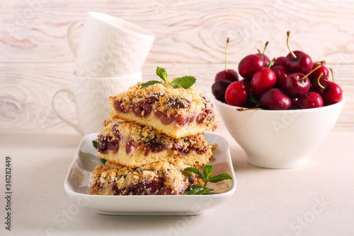 Valokuva Cherry and coconut bars, served