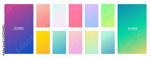 Pastel gradient smooth and vibrant soft color background set for devices, pc and modern smartphone screen soft pastel color backgrounds vector ux and ui design illustration isolated on white.