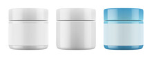 Vector  Isolated Realistic Jar. Mockup (layout) Of  Glossy Plastic Packaging And Cap For Cream Or Other Cosmetics. EPS 10