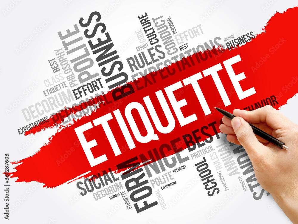 Fototapeta Etiquette word cloud collage, concept background