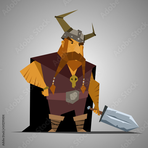 Tela Viking simple character. Vector warrior design.