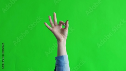 Hand shows gesture fingers okay, ok, all right. Green screen Wallpaper Mural