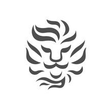 Lion Head Logo Black And White...