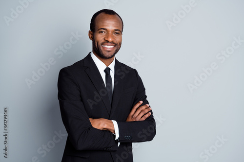 Vászonkép Portrait of smart afro american man leader investor cross hands ready decide sol