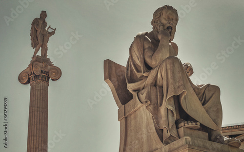 Socrates the philosopher and Apollo god of the arts marble statues, Athens Greec Wallpaper Mural