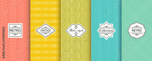 Fototapeta Set of seamless geometric patterns on bright backgrounds. Shabby chic striped. Vector illustration vintage design obraz na płótnie