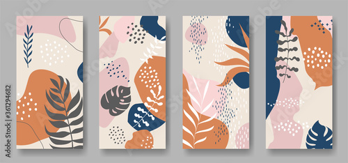 Photo Set of four vector banners with abstract ornament and leaves