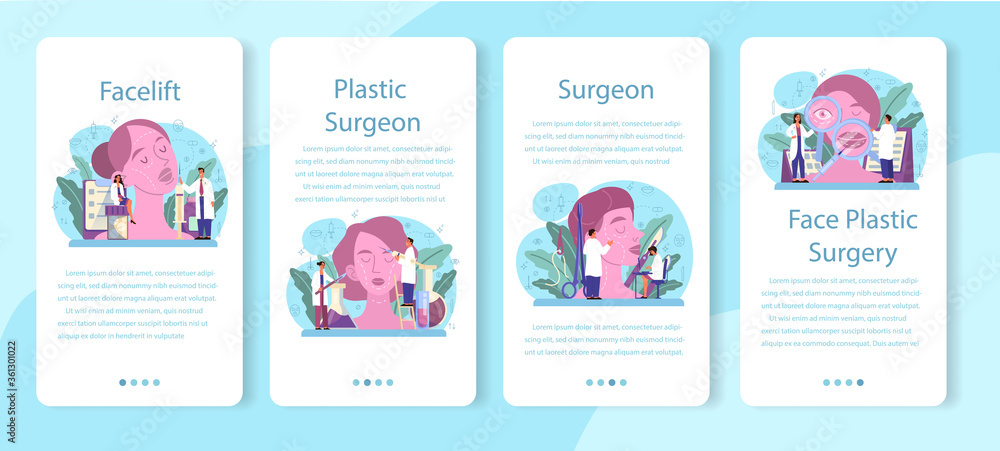 Plastic surgeon mobile application banner set. Idea of body and face