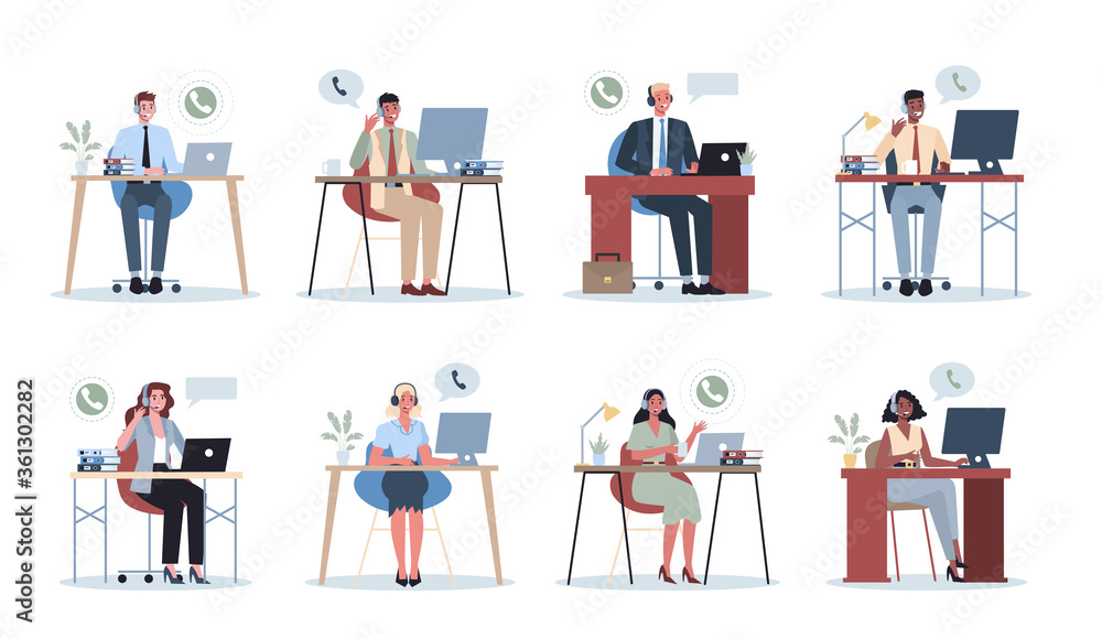 Fototapeta Business people with headphone. Call center office concept. Female