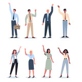 Business people in official clothes with their hand up set. Worker