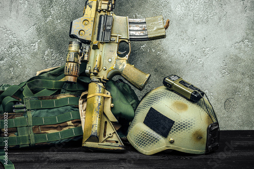 Modern weapon series. US Army assault rifle, close up. Wallpaper Mural