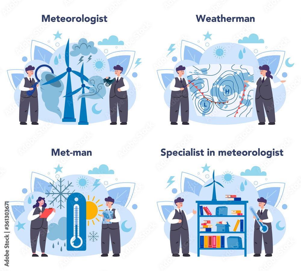 Fototapeta Meteorologist concept set. Weather forecaster studying and researching