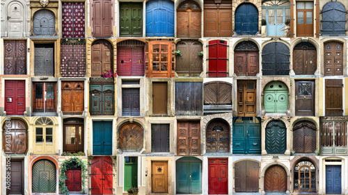 Photo Creative collage with multitude of colorful ancient front house doors