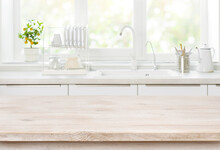 Wooden Table On Blurred Backgr...