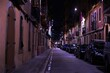 Street at night in Barcelona during coronavirus confinement. 2020 April .Barcelona