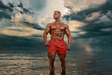 Fit Athlete Bodybuilder On The...