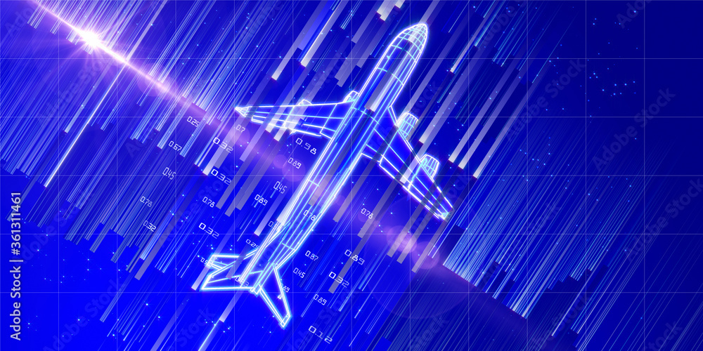 Fototapeta Big data. Abstract  background with digital  grid mesh airplane and blurred lines on blue sky.  3d wireframe  plane engineering concept with lens effects. Travel, tourism, transport banner.
