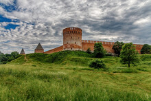 Old Fortress On A Green Hill. The Fortress Wall In Smolensk. Russia