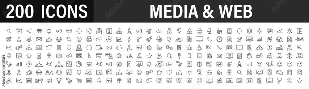 Fototapeta Set of 200 Media and Web icons in line style. Data analytics, Digital marketing, Management, Message, Phone. Vector illustration.