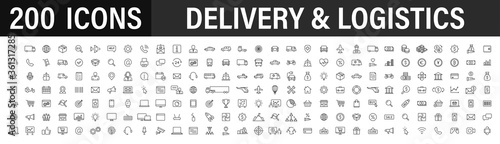 Fotografia Set of 200 Delivery and logistics web icons in line style