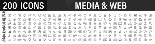 Set of 200 Media and Web icons in line style. Data analytics, Digital marketing, Management, Message, Phone. Vector illustration.