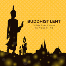 Buddhist Lent Day With Silhoue...