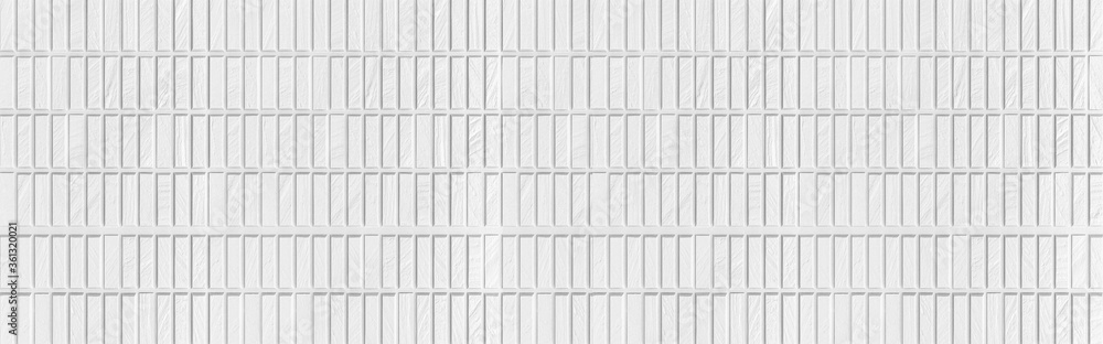 Fototapeta Panorama of Modern white stone wall with stripes texture and seamless background