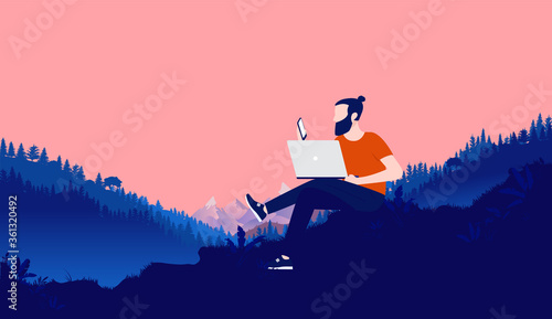 Obraz Working outside in wilderness - Bearded man with laptop and smartphone working outdoors in nature with landscape, forest and mountains in background. Remote work and freedom concept. Vector. - fototapety do salonu
