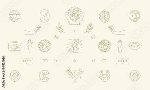 Vector line women decoration design elements set - women face and gesture hands illustrations simple linear style