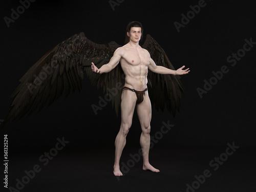Fotografía 3D Render : The portrait of male angel  in the studio
