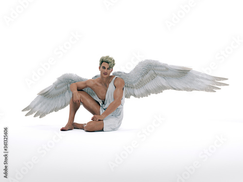 Fotomural 3D Render : The portrait of male angel  in the studio