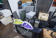 Landfill For Used Household Appliances. Electrical Waste For Recycling