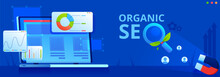 Organic Seo Concept Vector Banner. Computers Screen With Graphics And Website Statistics. Magnifying Glass With Green Leaves.