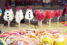 Candy Heart And Snowman On Woo...