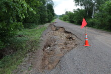 Road Damage Due To Heavy Rain And Flash Floods