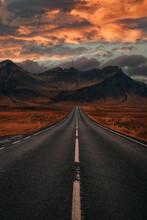 The Road On Desert To The Moun...