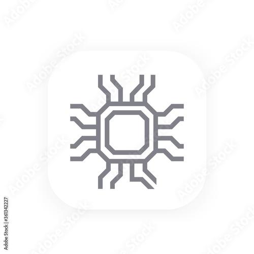Fototapeta chipset, microelectronics icon